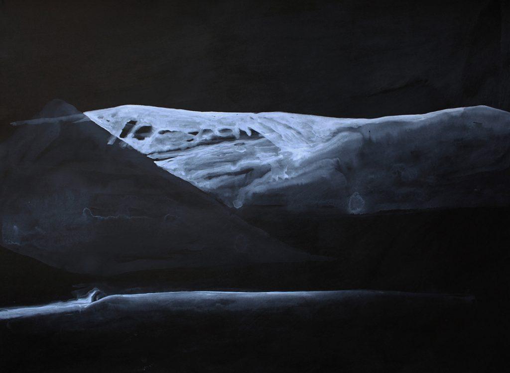 """ Senza titolo (montagna lontana)"" china e acrilico su carta cm 76x56"