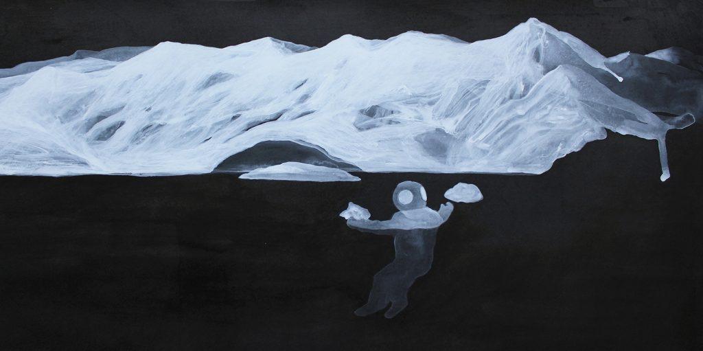 """"""" Prima della notte """" china e acrilico su carta cm 35x70"""