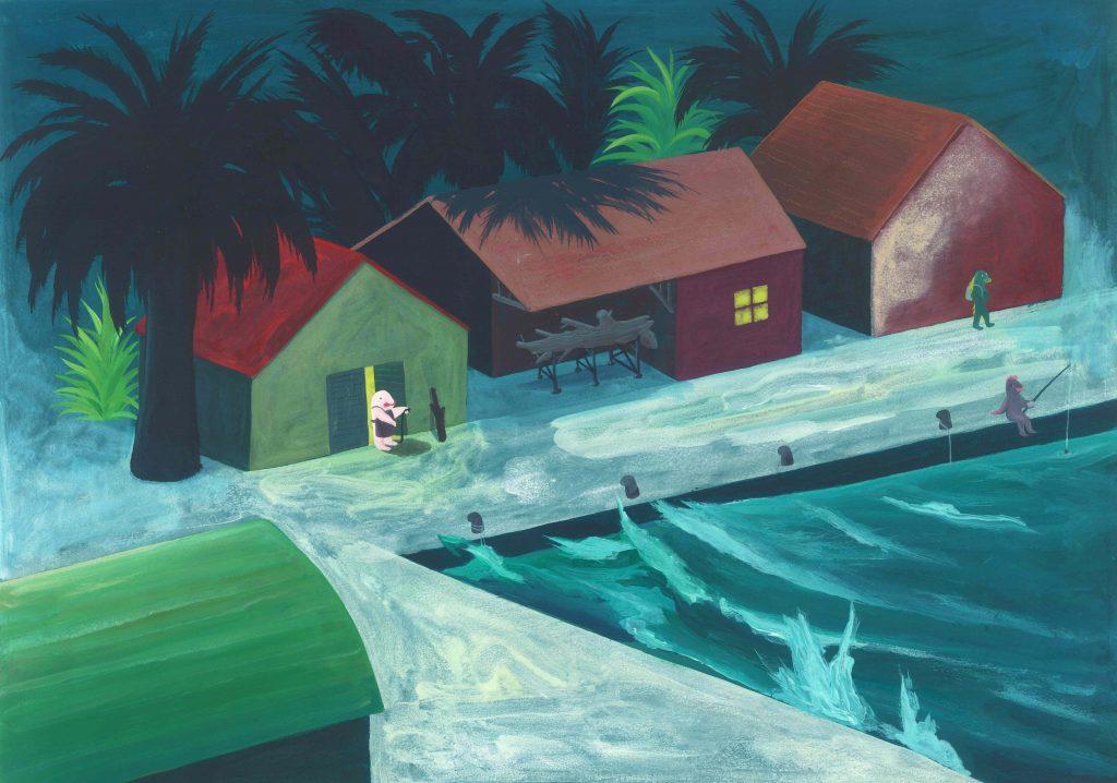 """Illustrazione cap. 1 de """"Le avventure di Pinocchio"""" acrilico su carta, cm 35x50 ( misura della carta )"""