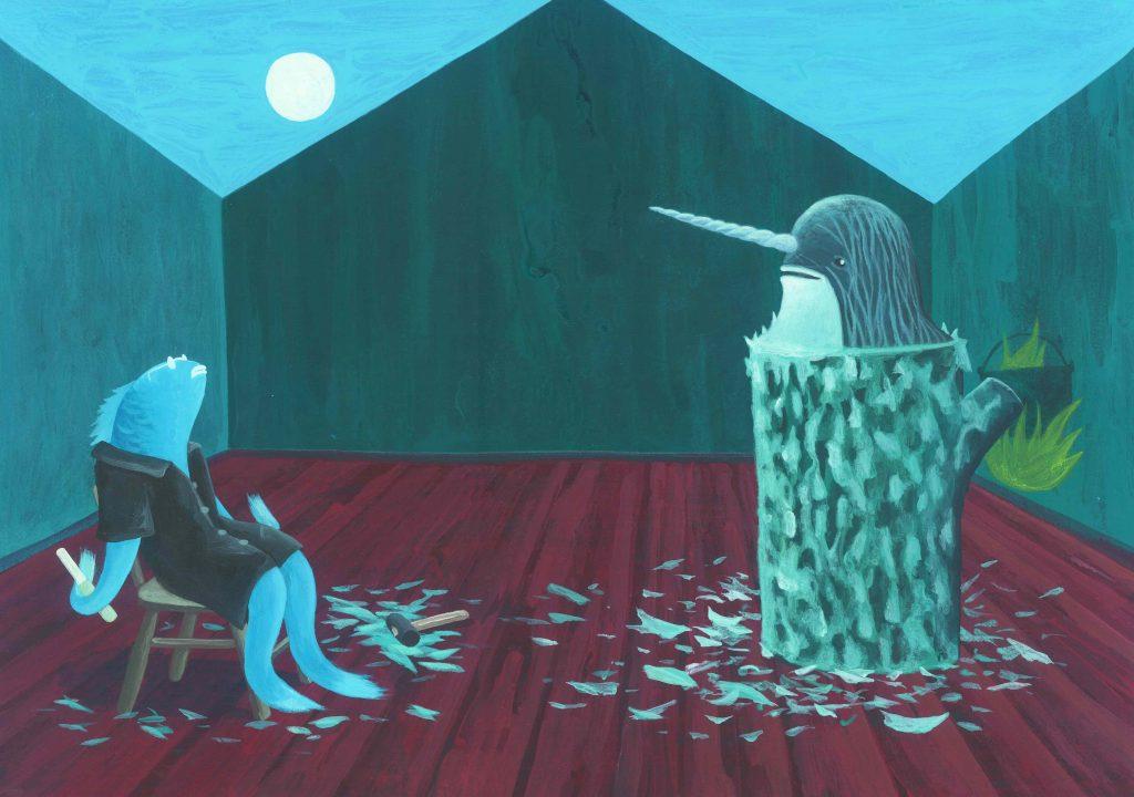 """Illustrazione cap. 13 de """"Le avventure di Pinocchio"""" acrilico su carta, cm 35x50 ( misura della carta )"""