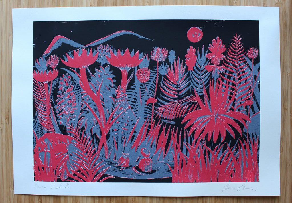 Incontro notturno Serigrafia firmata Misura carta cm 35x50 €50