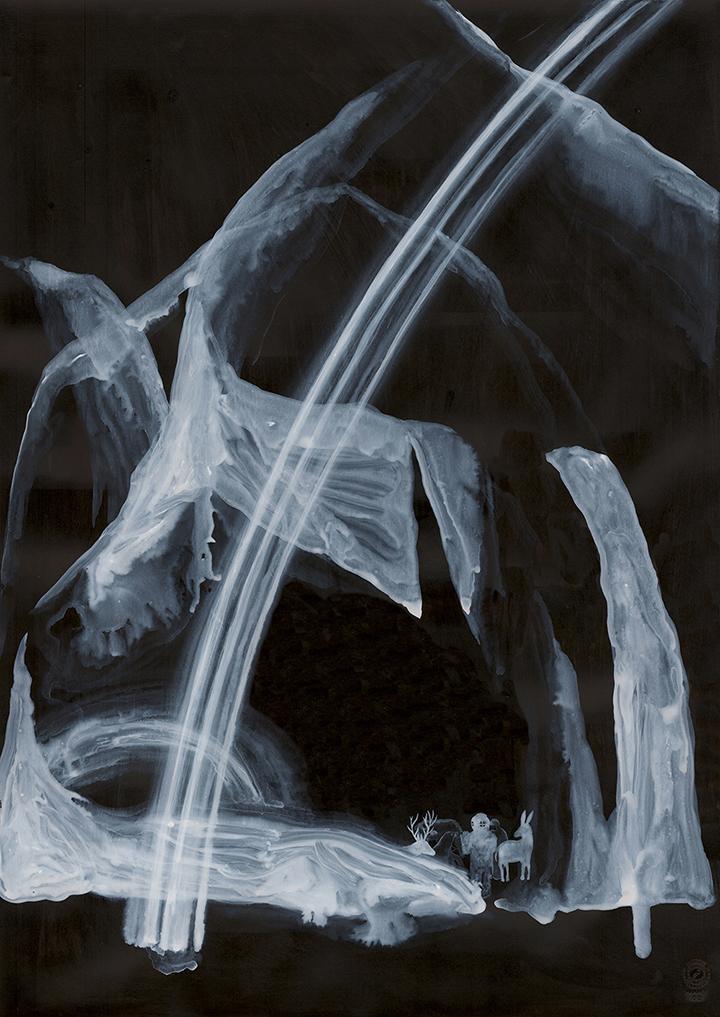 """""""Ore centrali"""" 2012 china e acrilico su carta cm 70x50"""
