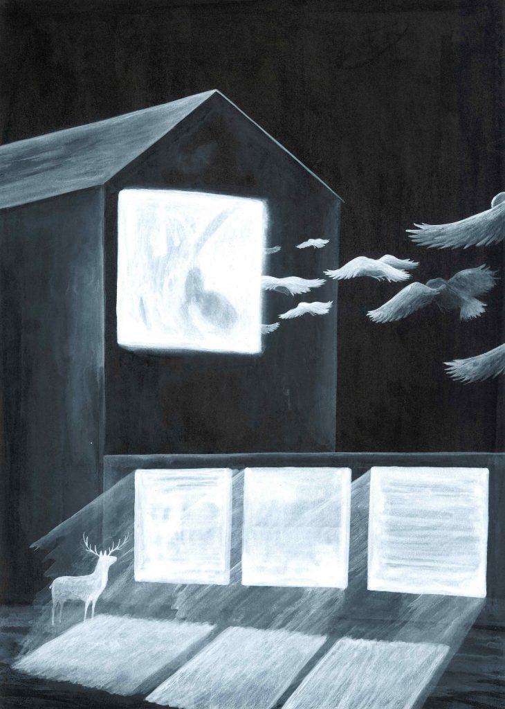 """"""" Detto con la luce"""" 2012china e acrilico su carta cm 25x35"""