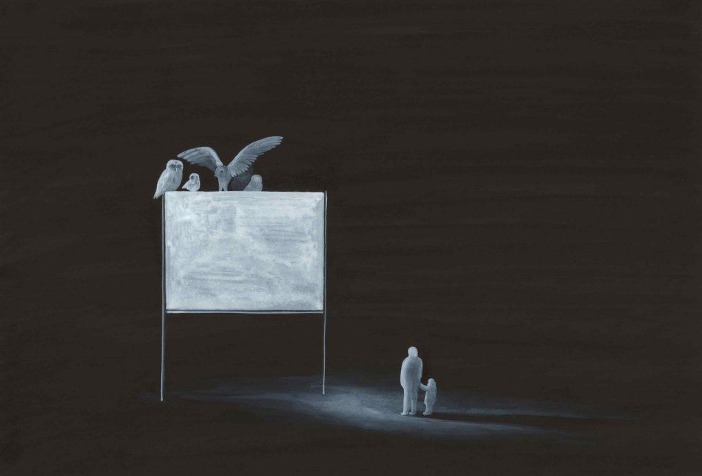 """"""" Pannello luminoso """" 2013 china e acrilico su carta cm 35x50"""