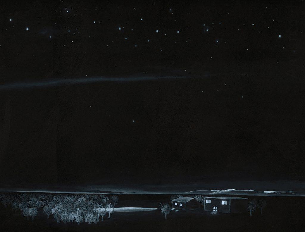 """"""" Verso casa """" 2013 china e acrilico su carta cm 40x30"""