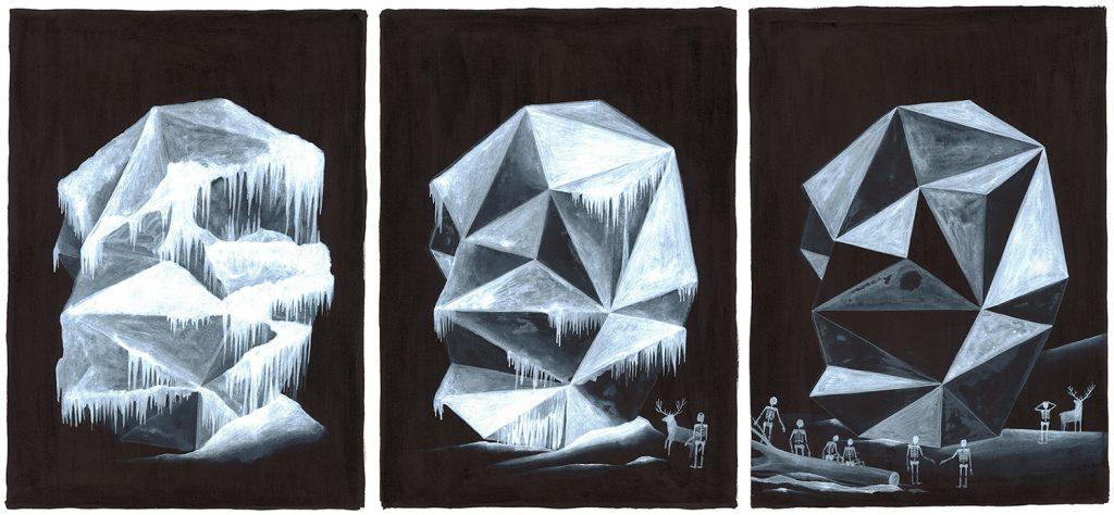 """""""Preziosa scoperta"""" china e acrilico su carta, trittico, dimensioni totali cm 35x75"""