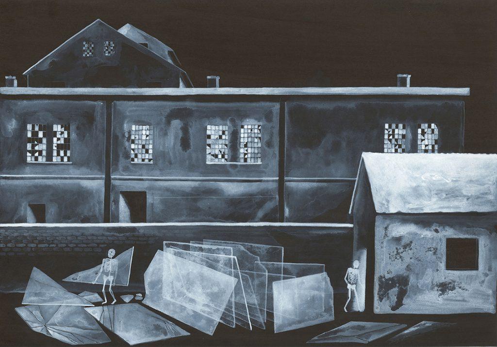 """""""Senza titolo """" Vetreria. China e acrilico su carta cm 35x25"""