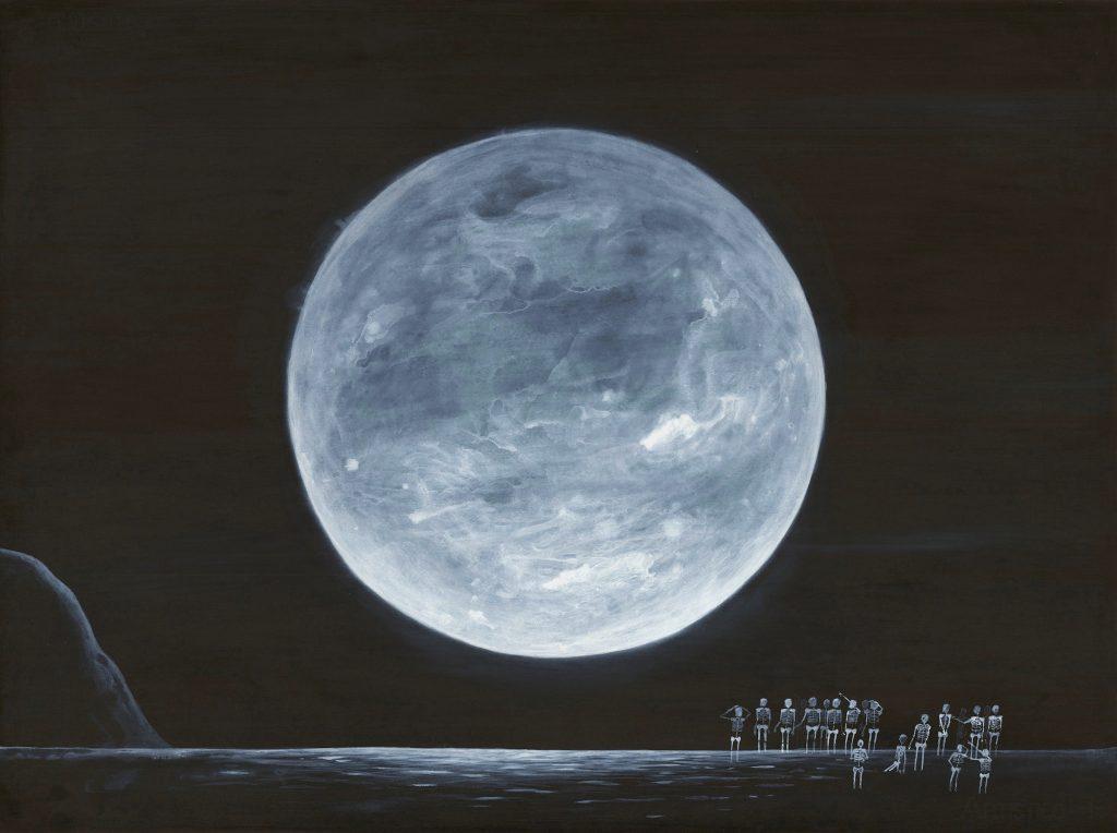 """""""Senza titolo"""" ( Luna con scheletri ) china e acrilico su carta cm 53x73"""