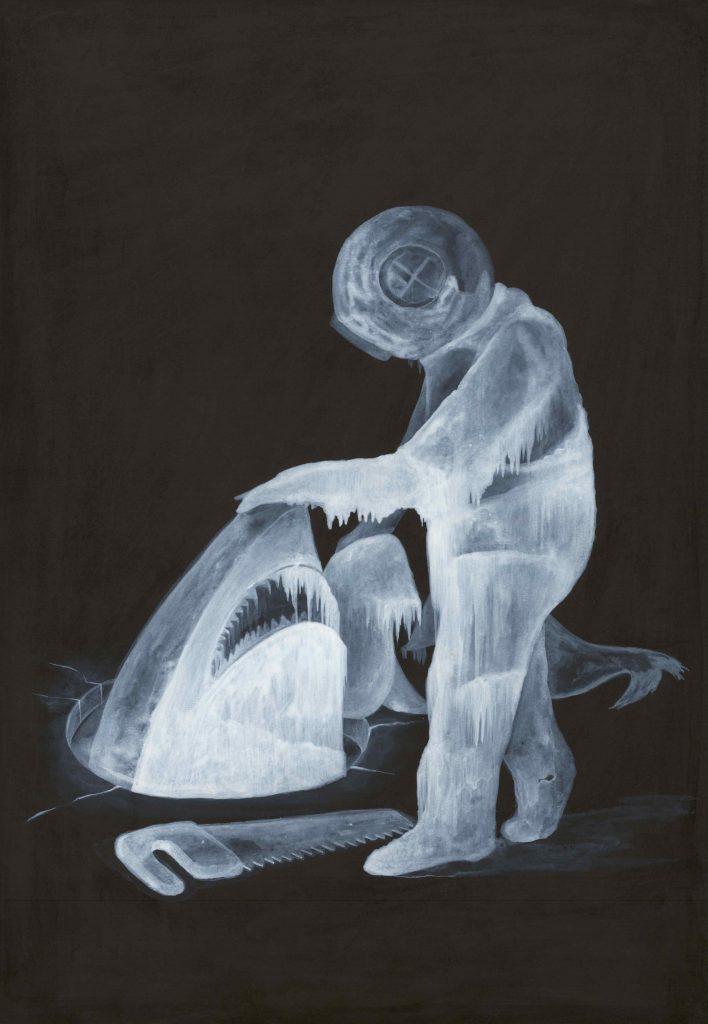 """""""Senza titolo """" ( Uomo con scafandro ) china e acrilico su carta cm 51x36"""