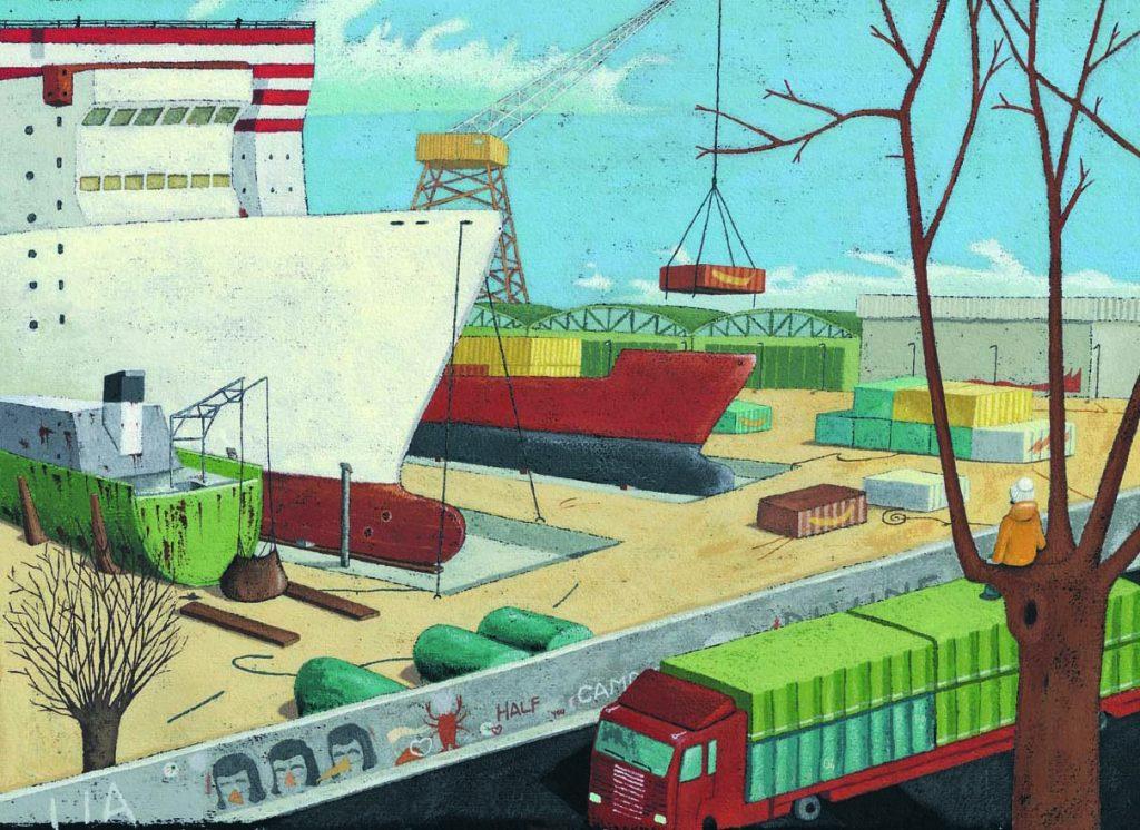 Illustrazione tratta da La nave, acrilico su carta cm 35x50
