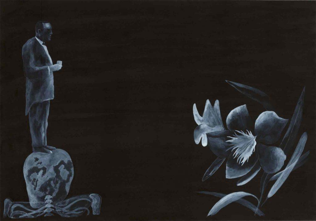 Illustrazione tratta da Le Horla, china e acrilico su carta cm 35x50