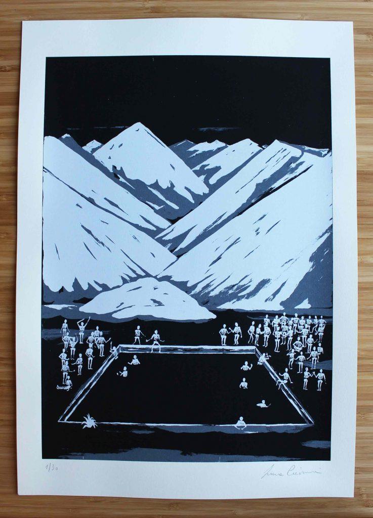 Bagno termale Serigrafia firmata / prova d' artista, misura carta cm 35x50 €50